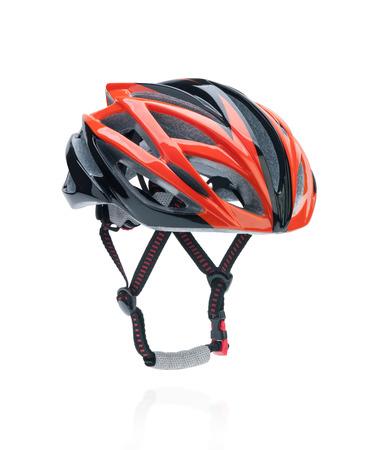 casco rojo: Montaña de la bicicleta del casco de seguridad de la bici aislado en blanco