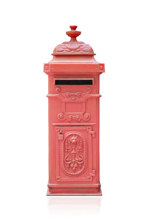 Retro red mail box isolated on white photo
