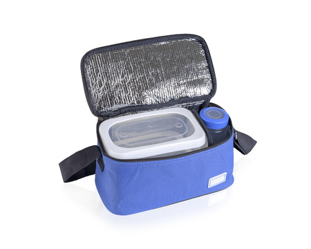insulated drink container: Blue cooler bag filled with plastic bottle and boxes isolated on white