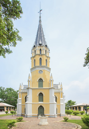 ayuttaya: European style temple church at Niwet Thammaprawat temple, Ayuttaya province, Thailand Stock Photo