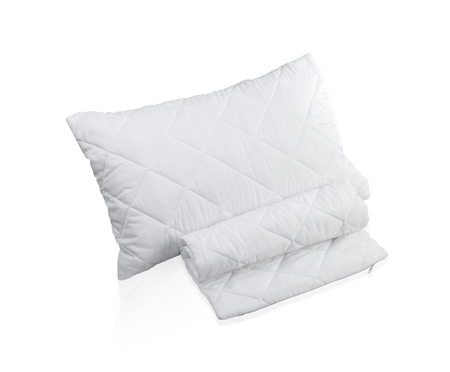 pillow case: pillow with white protective mite pillow case on white background