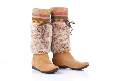 chamois leather: women high boots on white background
