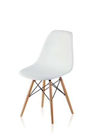modern chair with wooden legs isolated on white background Foto de archivo
