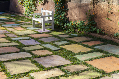 red brick: Colorful block ground in the garden