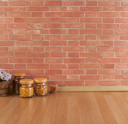 interior wall: Empty space on the kitchen counter and brick wall Stock Photo