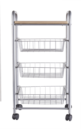 moveable: metal shelves rack with wooden top and wheels isolated on white background Stock Photo