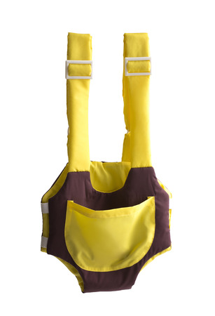 slings: cute yellow and brown baby carrier isolated on white background