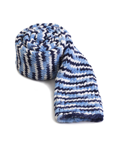 Colorful knitted wool scarf isolated on white background Stock Photo
