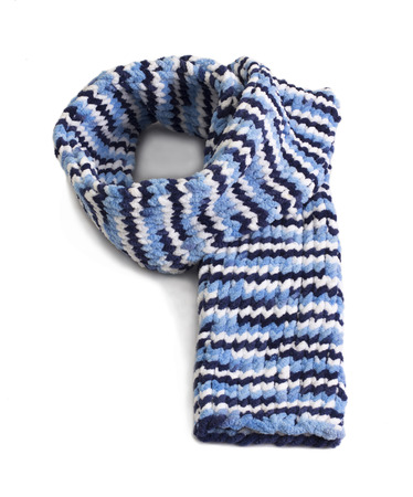 cosiness: Colorful knitted wool scarf isolated on white background Stock Photo