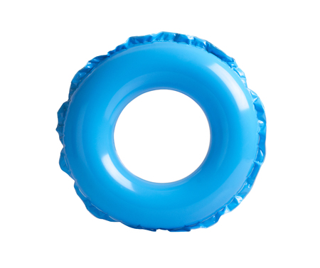 objects: Blue inflatable circle isolated on white background Stock Photo