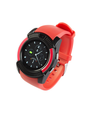 Modern style wristwatch with red silicone strap isolated on white background