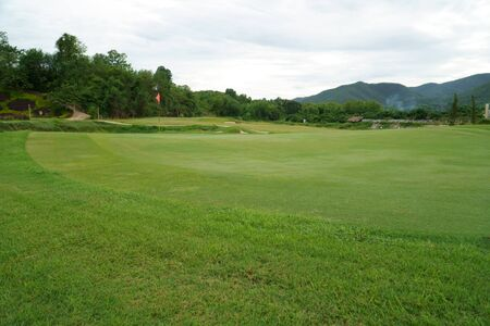 Golf course, beautiful landscape of a golf court with green grass