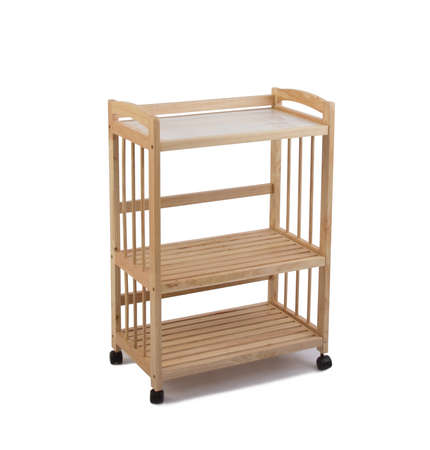 Wooden racks with wheels on wooden floor and white background