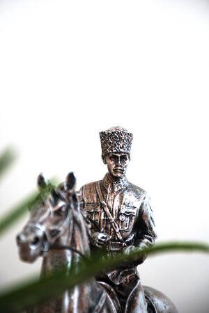 Mustafa Kemal Ataturk on the prancing horse Stok Fotoğraf