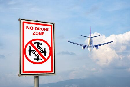 Drone flying is prohibited. Aircraft Alarm Sign. Writing area Archivio Fotografico