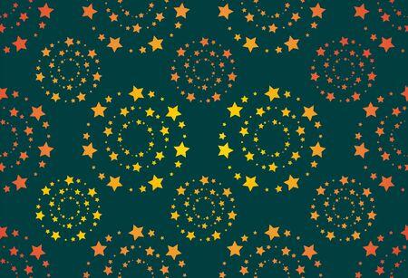 Seamless round stars. Intertwined stars. Abstract geometric background Çizim
