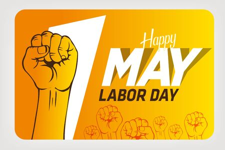 May 1st Labor Day. Happy Labor Day. Left hand worker fist.