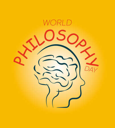World Philosophy Day Background Vector Illustration. Linear form of the human brain. Yellow background. Stock Illustratie