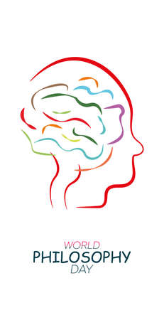 World Philosophy Day Background Vector Illustration. Linear form of the human brain. White background.