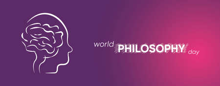 World Philosophy Day Background Vector Illustration. Linear form of the human brain. Purple and pink background.