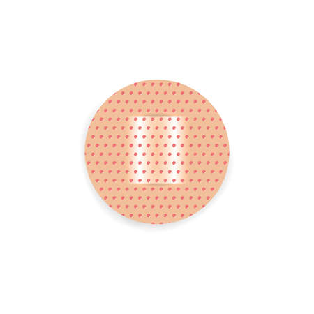 Round adhesive plaster isolated on white, adhesive plaster wound heal for icon. Adhesive bandage elastic medical plaster, stick tape elastic for cure first aid.