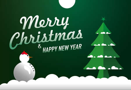 Merry Christmas Happy New Year. Snowflakes and moon. 2021 green writing became snow. Snowman, Christmas tree and moon.