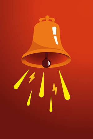 Vector vintage poster with orange, red and yellow retro bell. Bell on a orange background. Advertising, promotion. Vector illustration  イラスト・ベクター素材
