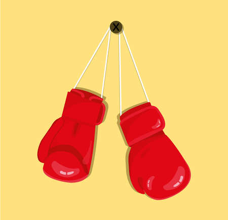 Red boxing gloves hanging on the wall nail. Modern boxing design icon.