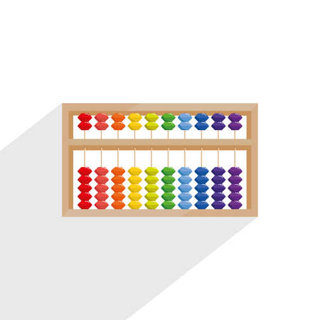 Abacus for mental arithmetic. Abacus Children's education. Early expansion. Flat vector illustration. Abacus logo emblem. Beads of 1 to 10 colors.