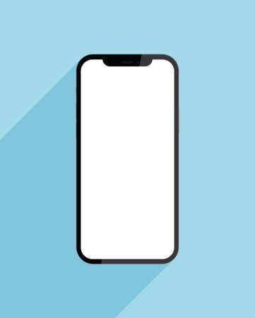 New trendy version of black thin frame notch display smartphone with blank white screen. Realistic vector mockup phone for visual ui app demonstration