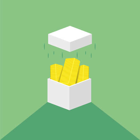 Gold bars coming out of the white square box. Flat cartoon illustration. Gold bars or ingot. The box opened towards the air. Иллюстрация