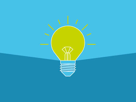 The light bulb is full of ideas And creative thinking, analytical thinking for processing. Blue Light bulb icon vector. ideas symbol illustration. Çizim