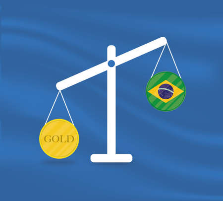 Currency round yellow gold on Libra and the economy balances of the country of Brazil. Gold is rising, the currency value of the country is decreasing. Money value and purchasing power change.