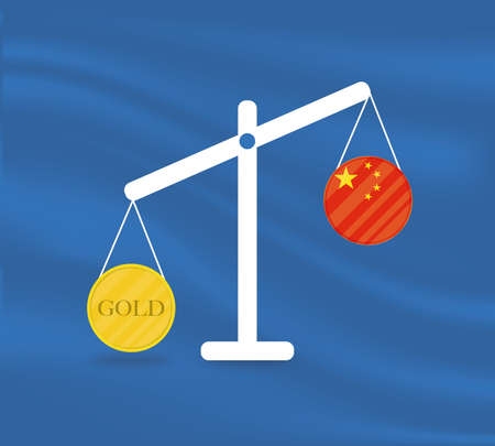 Currency round yellow gold on Libra and the economy balances of the country of Chine. Gold is rising, the currency value of the country is decreasing. Money value and purchasing power change.
