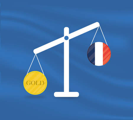 Currency round yellow gold on Libra and the economy balances of the country of France. Gold is rising, the currency value of the country is decreasing. Money value and purchasing power change.
