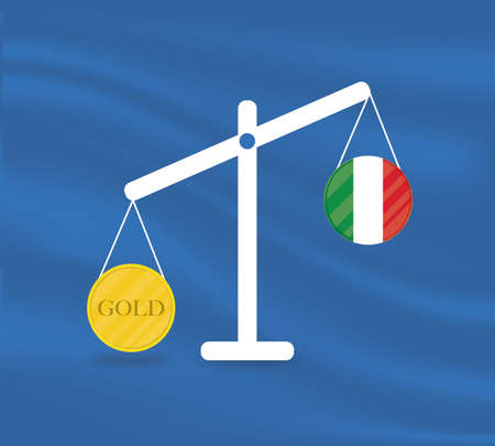 Currency round yellow gold on Libra and the economy balances of the country of Italy. Gold is rising, the currency value of the country is decreasing. Money value and purchasing power change.
