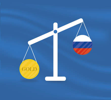 Currency round yellow gold on Libra and the economy balances of the country of Russia. Gold is rising, the currency value of the country is decreasing. Money value and purchasing power change.