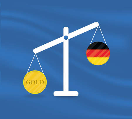 Currency round yellow gold on Libra and the economy balances of the country of Germany. Gold is rising, the currency value of the country is decreasing. Money value and purchasing power change.