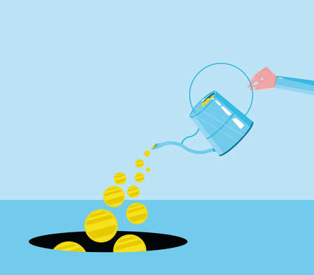 Money goes into the black hole with manual watering. It is used in areas such as unnecessary spending, excessive spending or loss. Gold coin is black, black hole.