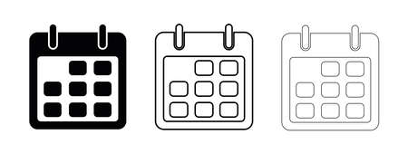 Flat calendar Icon. Calendar on the wall. Calendar line vector icon on white background. Flat line vector illustration.