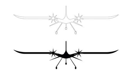 Monochrome unmanned aerial vehicle icon. Aviation technology military drone modern warfare. UAV has a modern outline with contours and icons. Front view UAV icon.