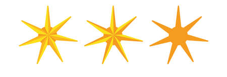 Modern star design in gold color. It can be used for coats of arms, badges, logo design.
