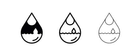 Water accumulated in the content of 3 different thickness water drops. Suitable for logo-web site use. Glowing water with water drop. Flat art modern vector illustration.