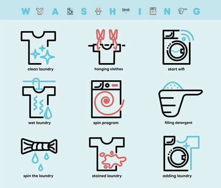 Set of washing and laundry icons. Such Icons include detergent container, hanging clothes, spinning clothes, wifi feature and so on. Colorful wash icon set. Editable Stroke. Logo, web and app.