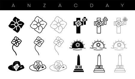 Anzac day designs icon set. Poppy, memorial, army cap, badge icon set, editable line. silhouette design. Logo, web and banner design. Illustration.