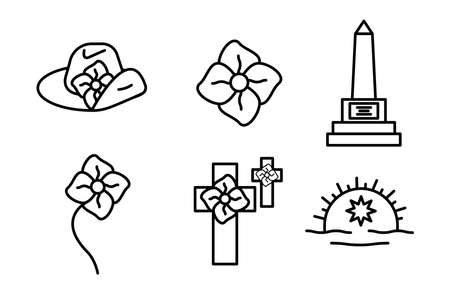 Anzac day designs icon set. Poppy, memorial, army cap, badge icon set, editable line. Logo, web and banner design. Illustration. Logo