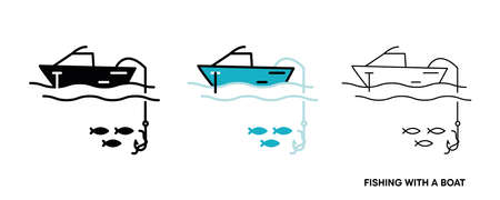 Fishing from the boat icon set. This icon is the icon symbol showing fish caught from the boat. Editable icon set. Fishing club or online web shop creative vector line art. Ilustración de vector