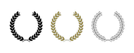 Green background, silhouette, circular bay leaf and a trophy, heraldry wreath. Collection of wreaths depicting success, victory, crown, winner, ornate, vector icon illustration.