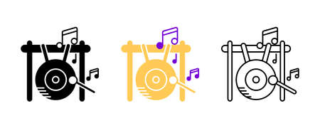 Big gong and musical notes icon set. Entertainment and music icon. Set of percussion instruments. Editable rowset. Silhouette, colored, linear icon set.