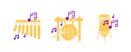 Bar chimes, Big gong, percussion and musical notes icon set. Entertainment and music icon. String instruments set. Editable rowset. Colored icon set. Vektoros illusztráció